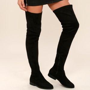 black thigh high boots